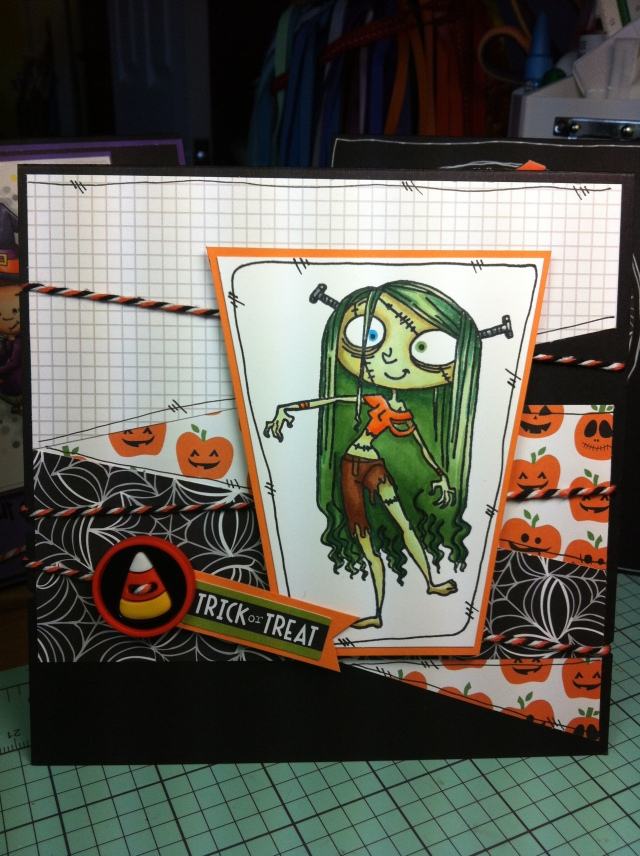 Trick or Treat Card # 3 Zelda. This turned out to be my favourite! I copied the stitch motif through, using my copic pen. I also tried to mimic it with the background paper and the placement of the twine. The candy corn button is also from the kit.